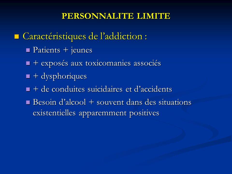 Caractéristiques de l'addiction :