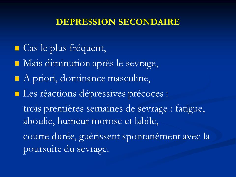 DEPRESSION SECONDAIRE