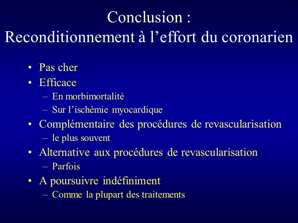 Conclusion : Reconditionnement à l'effort du coronarien