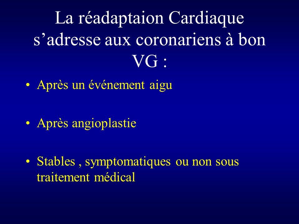 La réadaptaion Cardiaque s'adresse aux coronariens à bon VG :