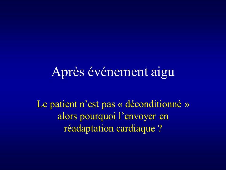 Après événement aigu Le patient n'est pas « déconditionné » alors pourquoi l'envoyer en réadaptation cardiaque