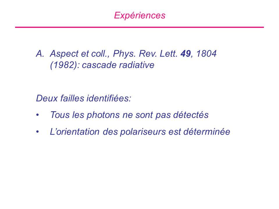Expériences Aspect et coll., Phys. Rev. Lett. 49, 1804 (1982): cascade radiative. Deux failles identifiées: