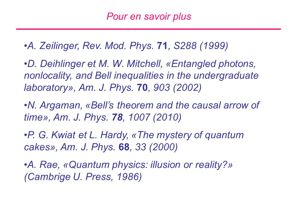 Pour en savoir plus A. Zeilinger, Rev. Mod. Phys. 71, S288 (1999)