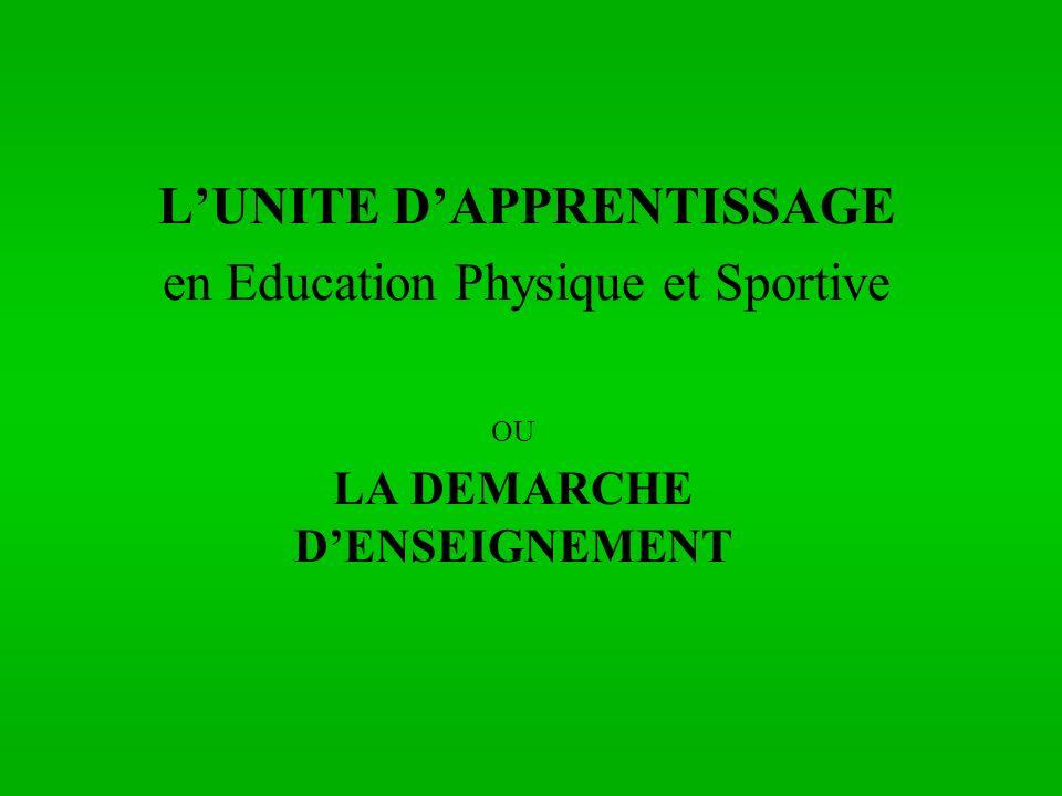 L'UNITE D'APPRENTISSAGE en Education Physique et Sportive