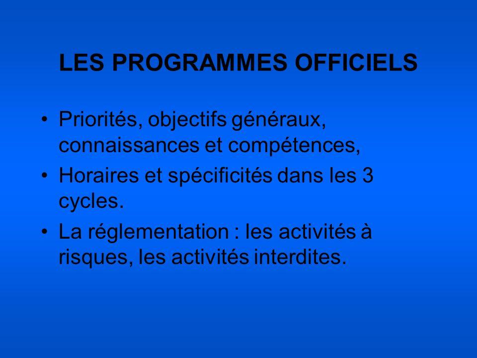 LES PROGRAMMES OFFICIELS