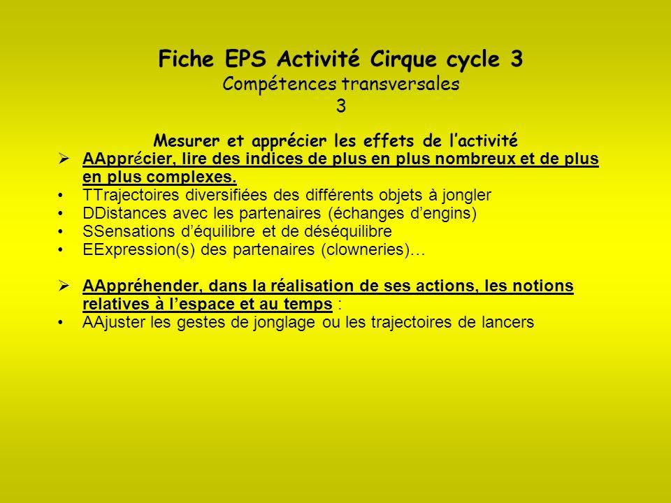Fiche EPS Activité Cirque cycle 3 Compétences transversales 3