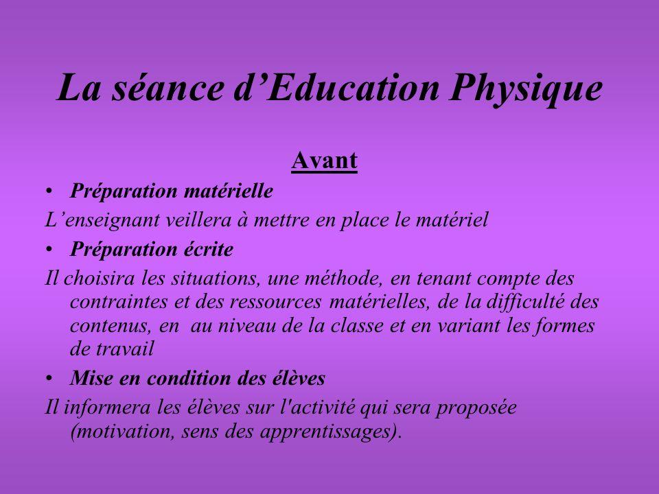 La séance d'Education Physique