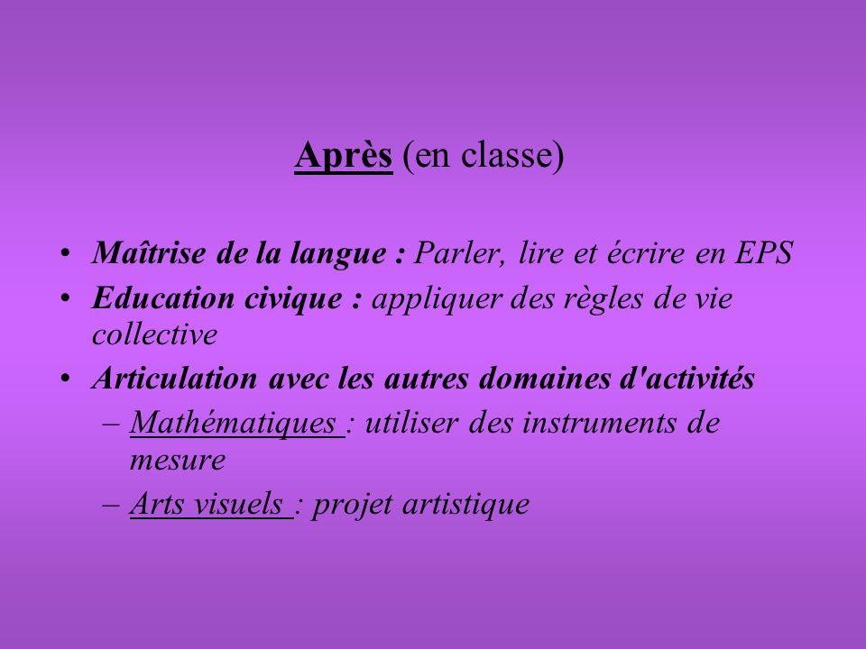Après (en classe) Maîtrise de la langue : Parler, lire et écrire en EPS. Education civique : appliquer des règles de vie collective.
