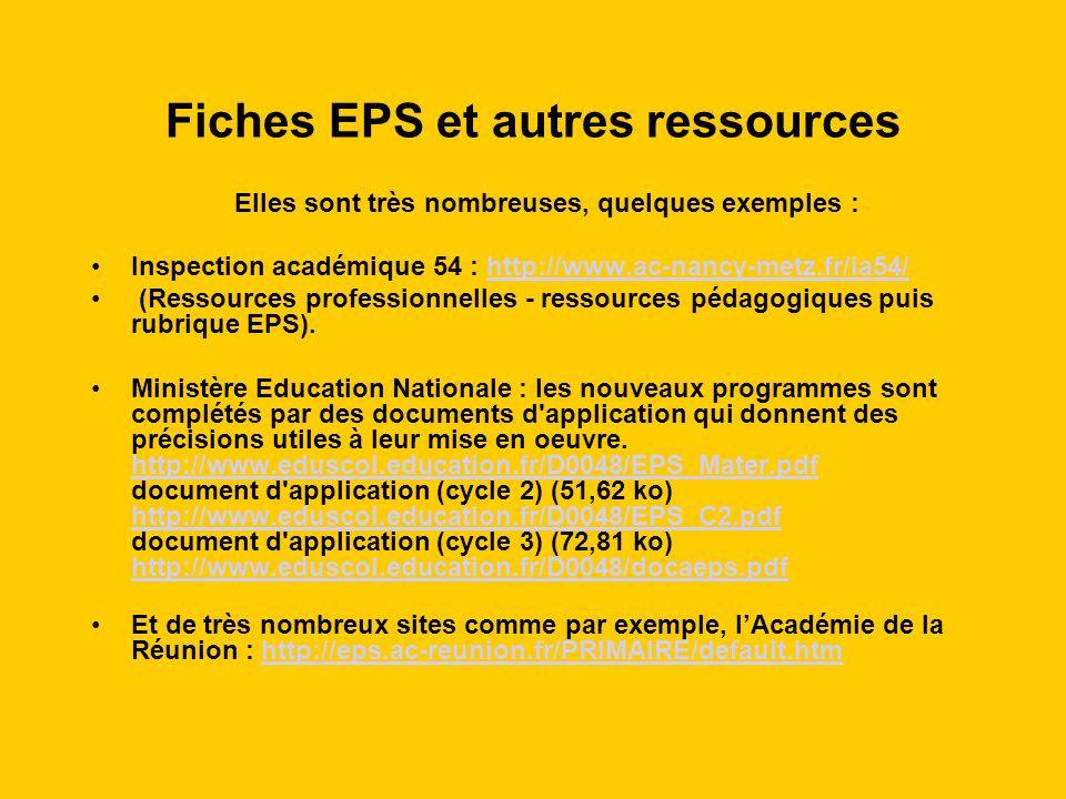 Fiches EPS et autres ressources
