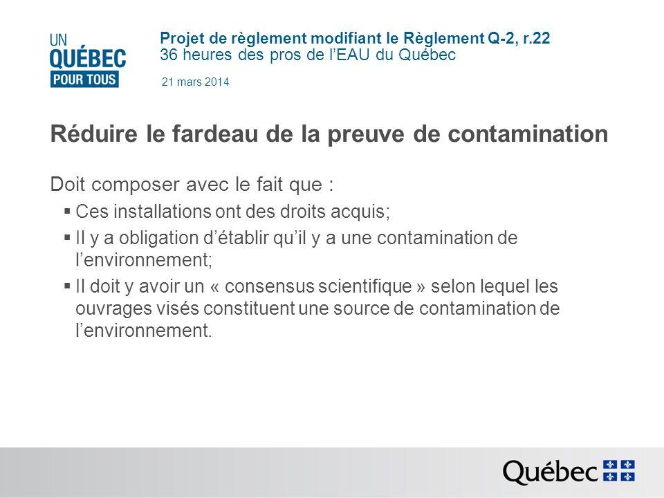 Réduire le fardeau de la preuve de contamination