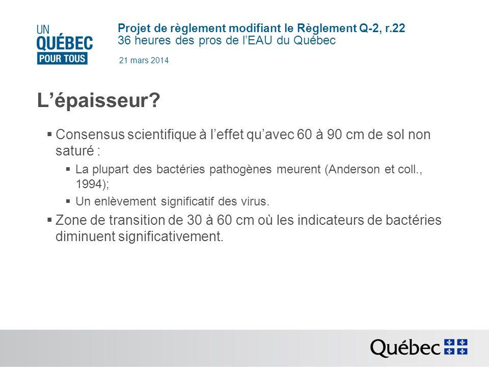 21 mars 2014 L'épaisseur Consensus scientifique à l'effet qu'avec 60 à 90 cm de sol non saturé :