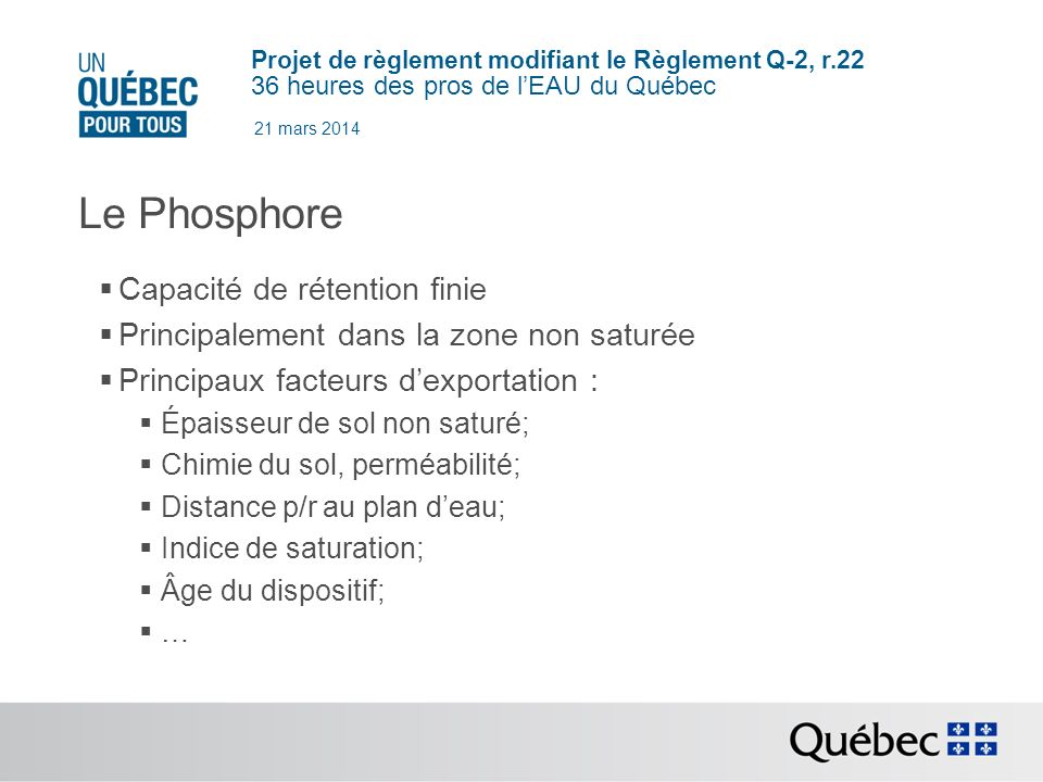 Le Phosphore Capacité de rétention finie