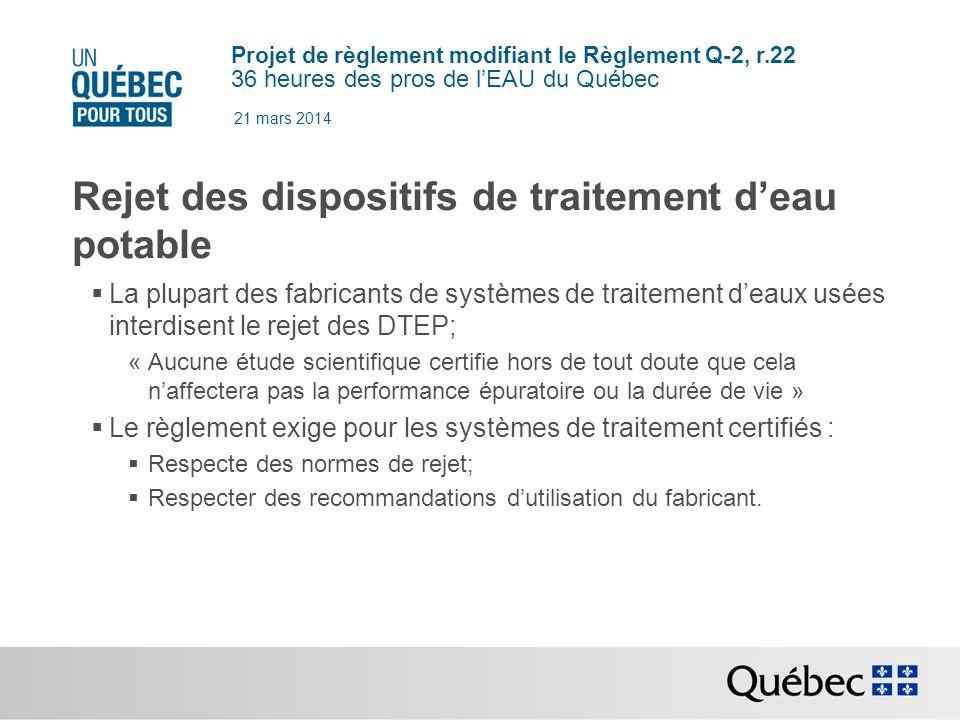 Rejet des dispositifs de traitement d'eau potable