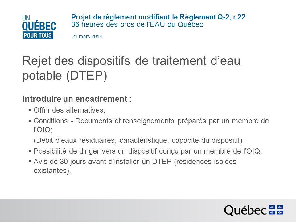 Rejet des dispositifs de traitement d'eau potable (DTEP)