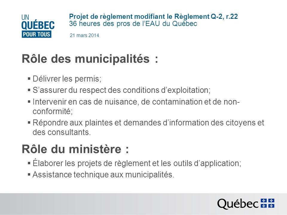 Rôle des municipalités :