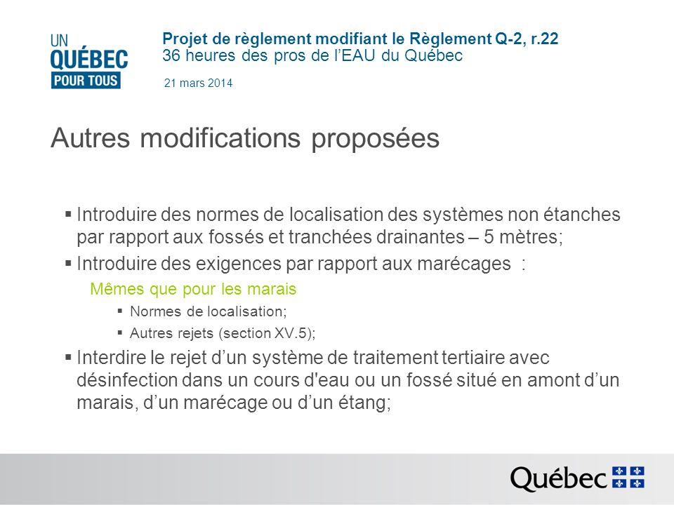 Autres modifications proposées