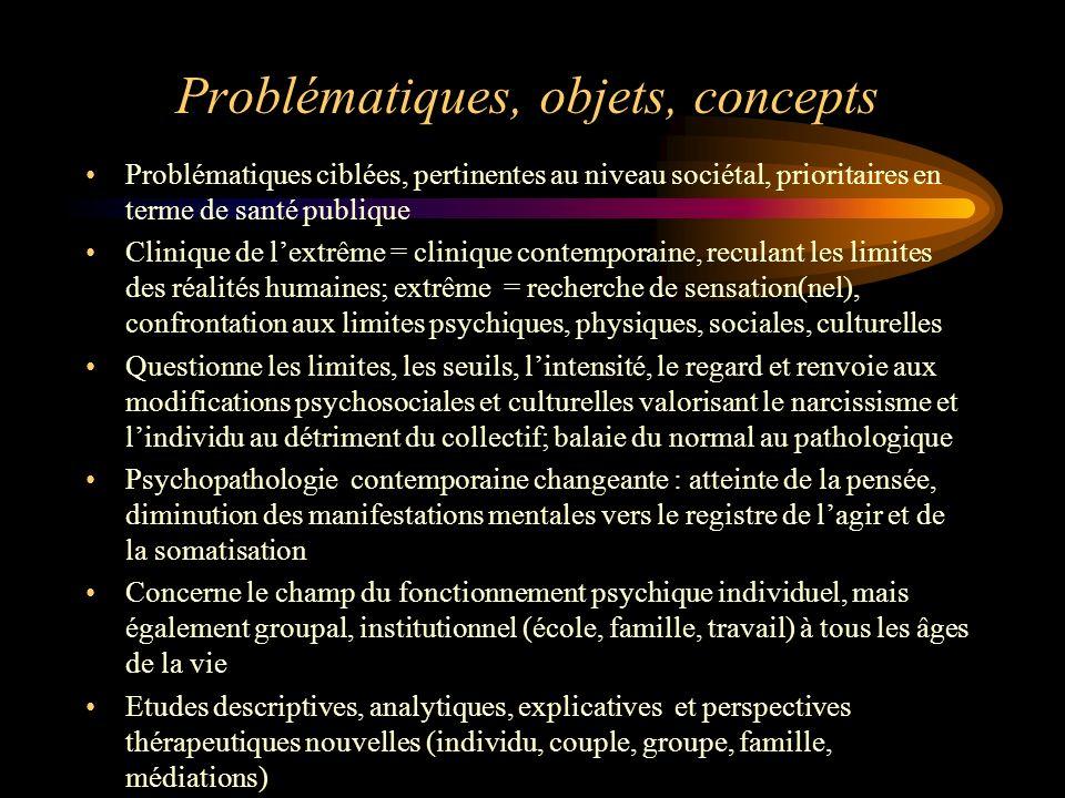 Problématiques, objets, concepts