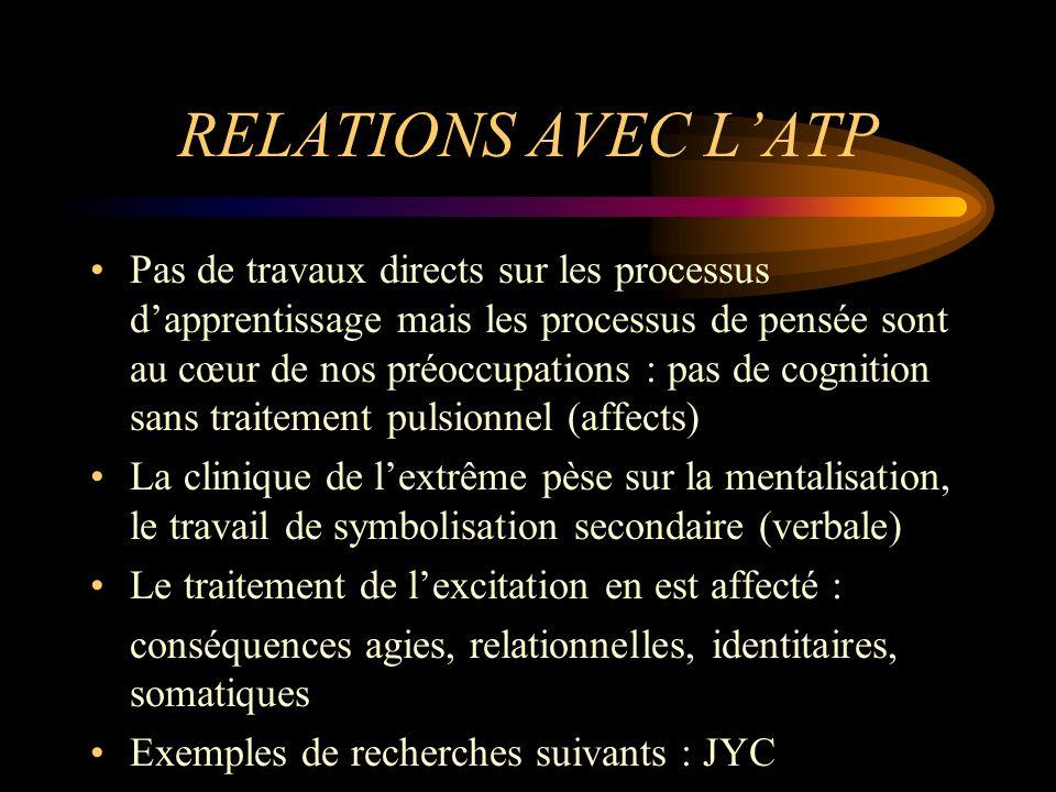RELATIONS AVEC L'ATP