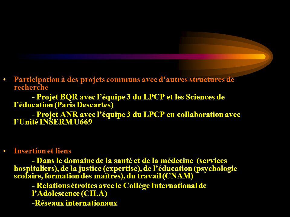 Participation à des projets communs avec d'autres structures de recherche