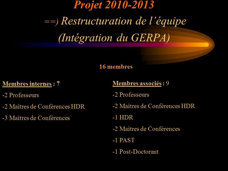 Projet 2010-2013 ==) Restructuration de l'équipe (Intégration du GERPA)