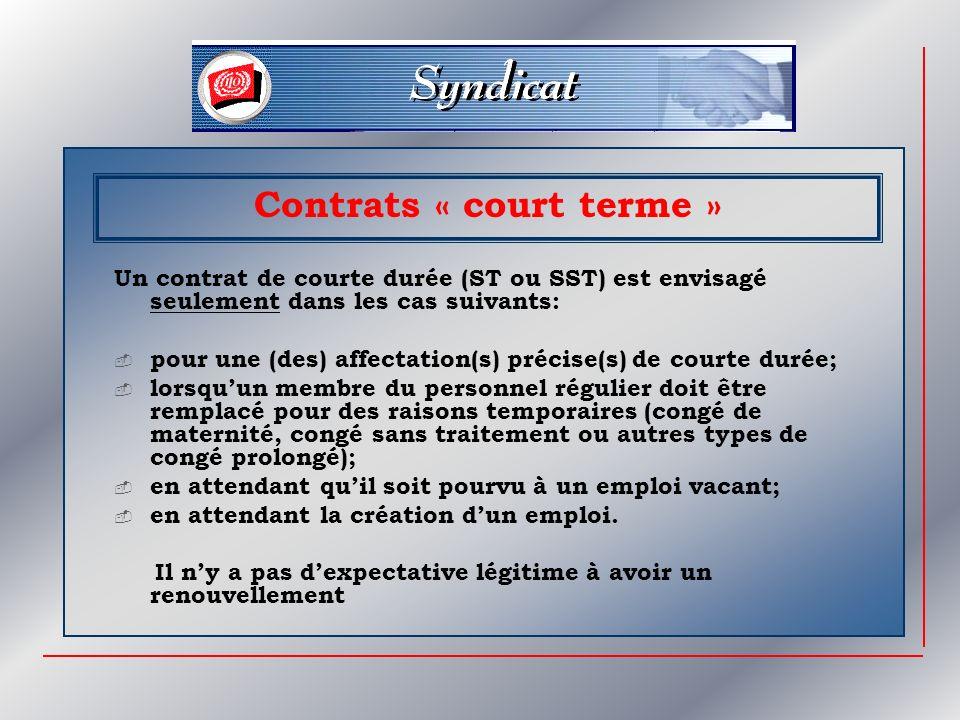 Contrats « court terme »