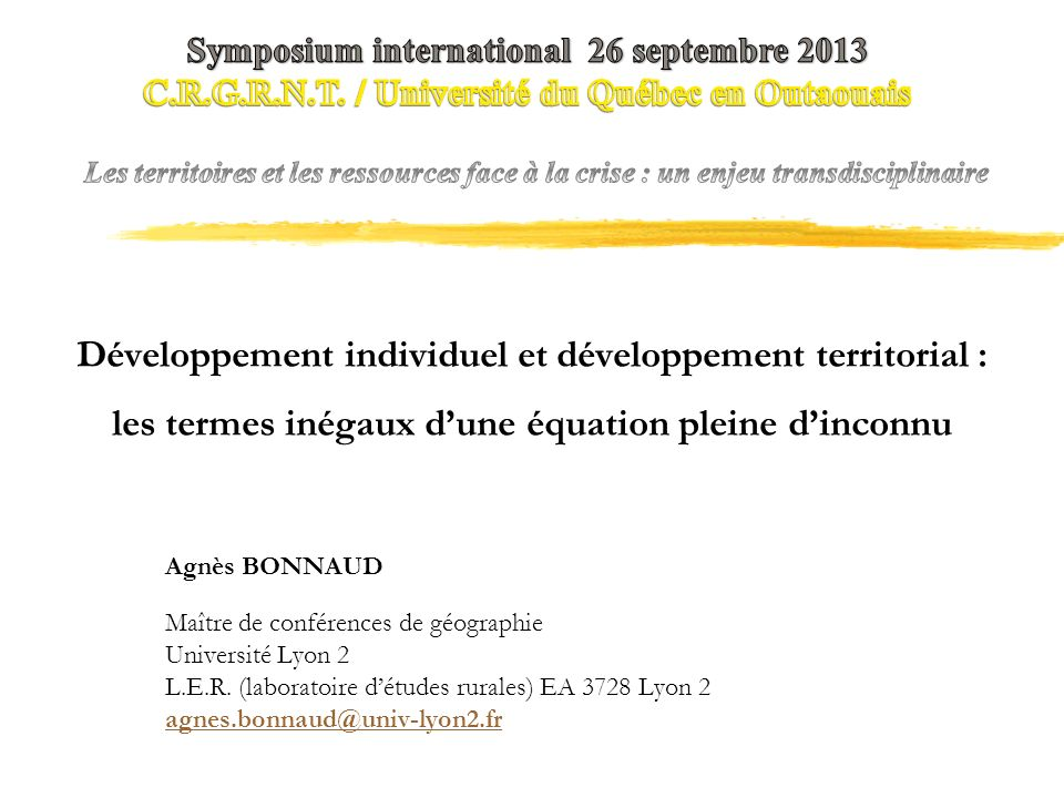 Symposium international 26 septembre 2013