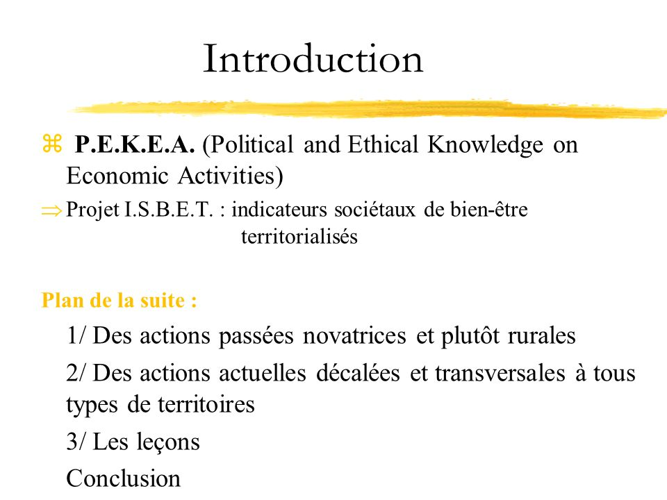 Introduction P.E.K.E.A. (Political and Ethical Knowledge on Economic Activities)