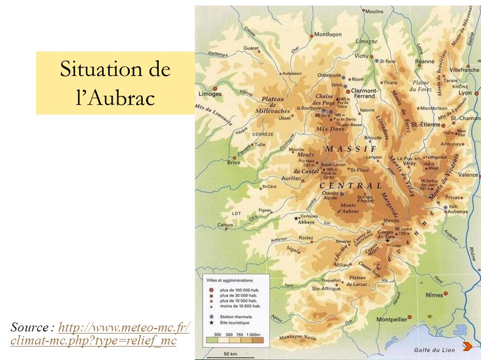 Situation de l'Aubrac Source : http://www.meteo-mc.fr/