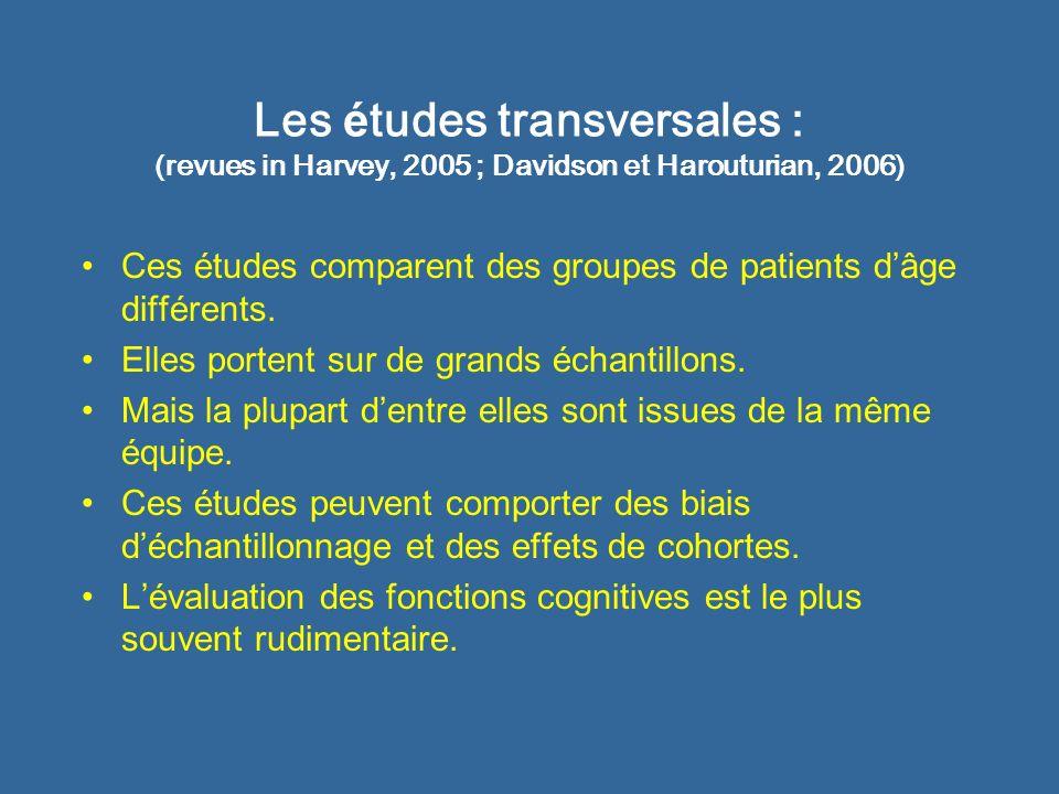 Les études transversales : (revues in Harvey, 2005 ; Davidson et Harouturian, 2006)