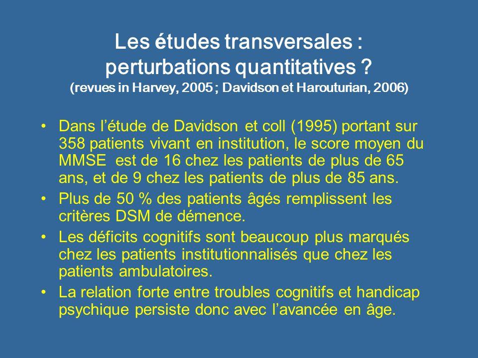 Les études transversales : perturbations quantitatives