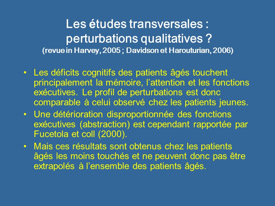 Les études transversales : perturbations qualitatives