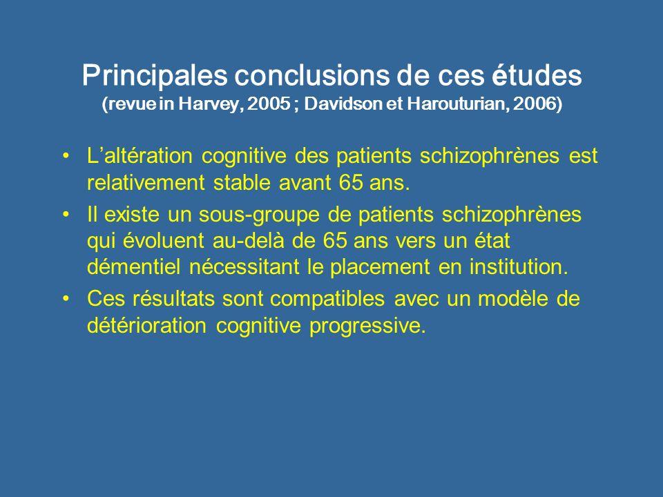 Principales conclusions de ces études (revue in Harvey, 2005 ; Davidson et Harouturian, 2006)