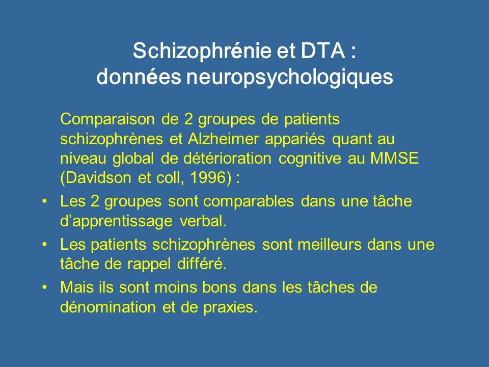 Schizophrénie et DTA : données neuropsychologiques