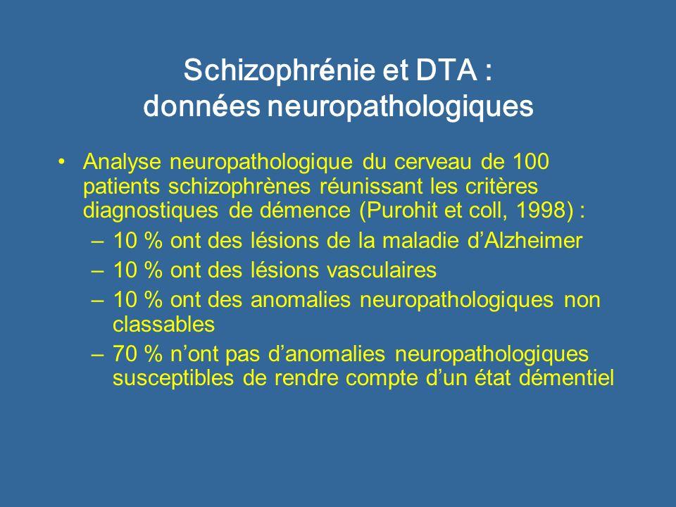 Schizophrénie et DTA : données neuropathologiques