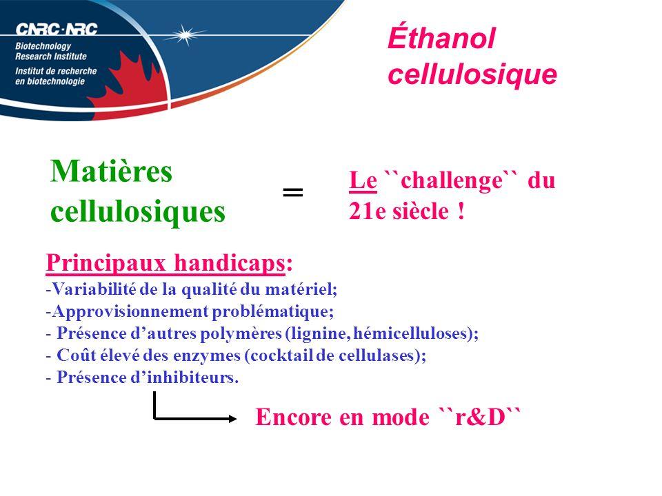 = Matières cellulosiques Éthanol cellulosique Le ``challenge`` du