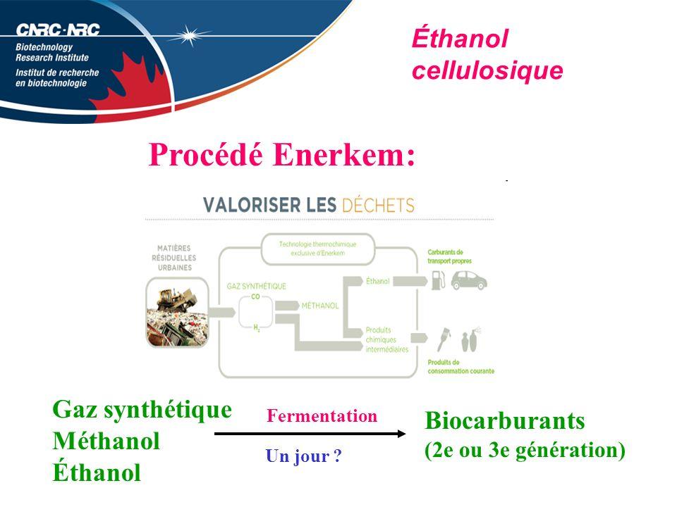 Procédé Enerkem: Éthanol cellulosique Gaz synthétique Biocarburants