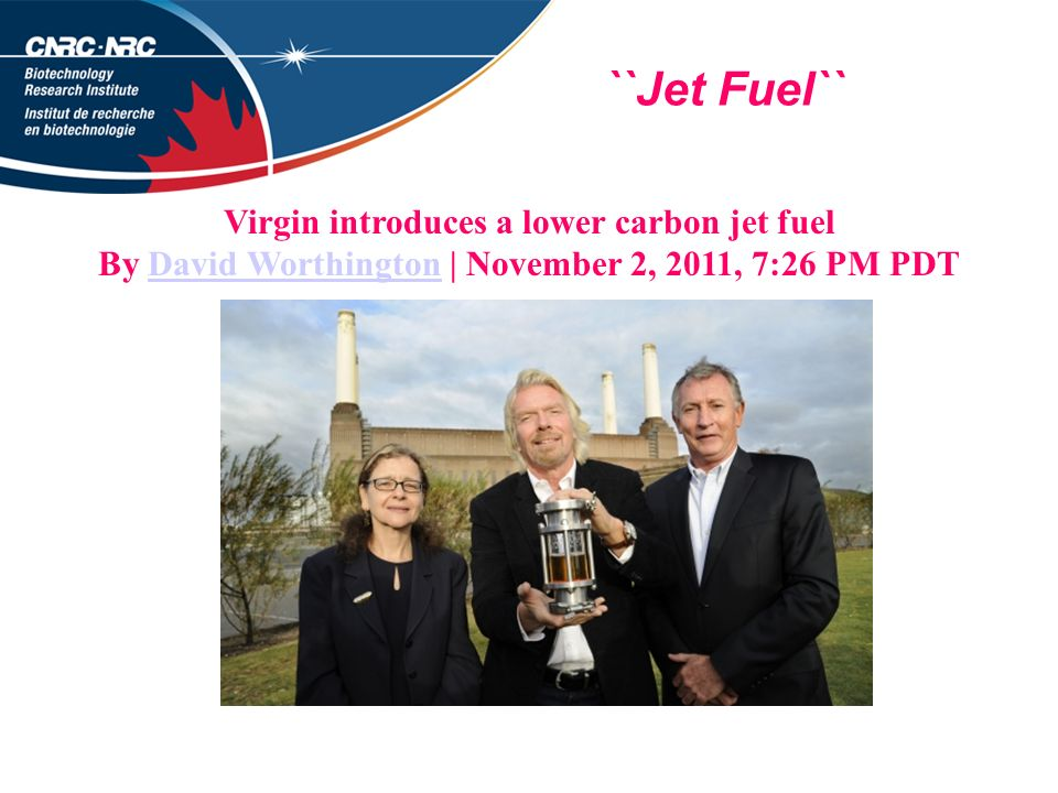 ``Jet Fuel`` Virgin introduces a lower carbon jet fuel