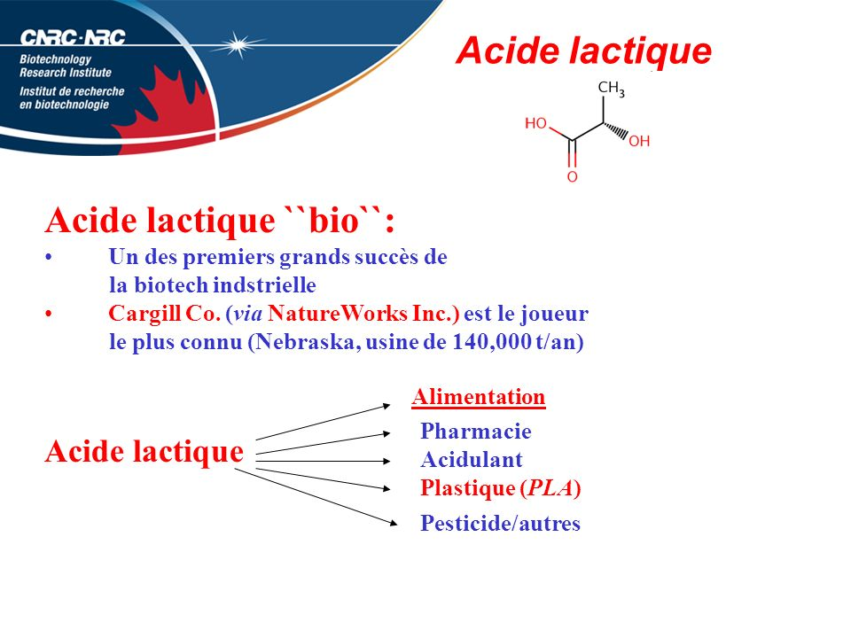 Acide lactique ``bio``:
