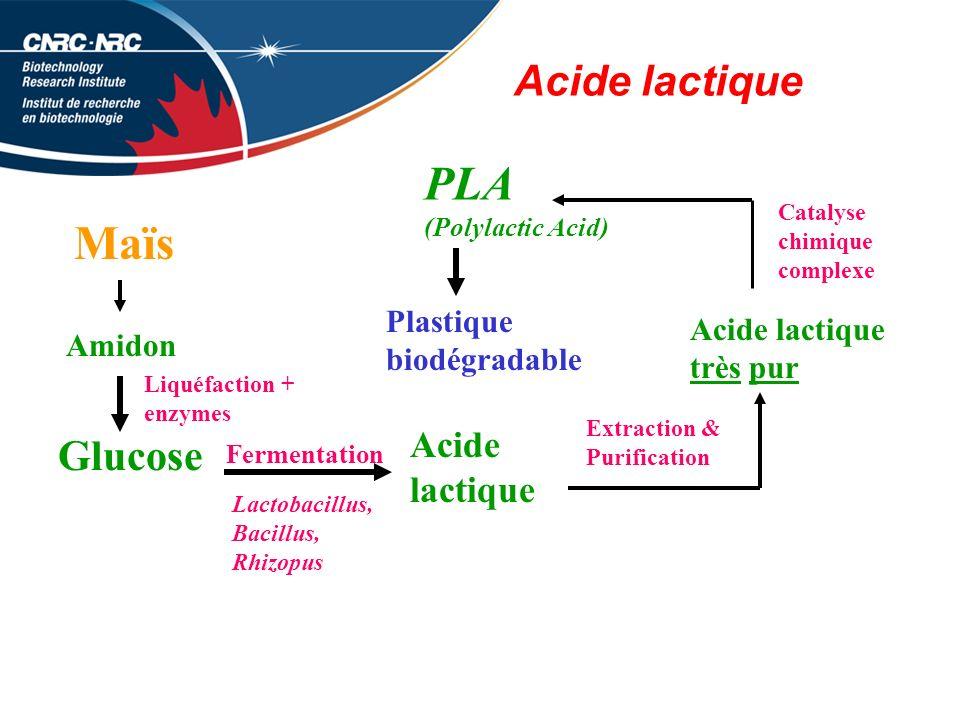 PLA Maïs Acide lactique Glucose Acide lactique Plastique