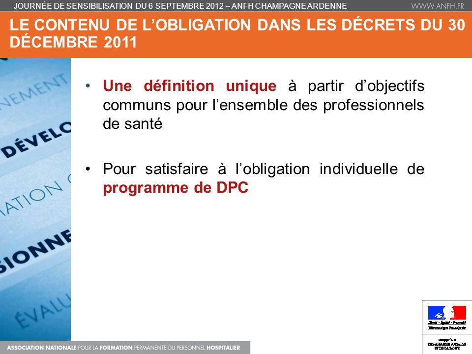 Le contenu de l'obligation dans les décrets du 30 décembre 2011