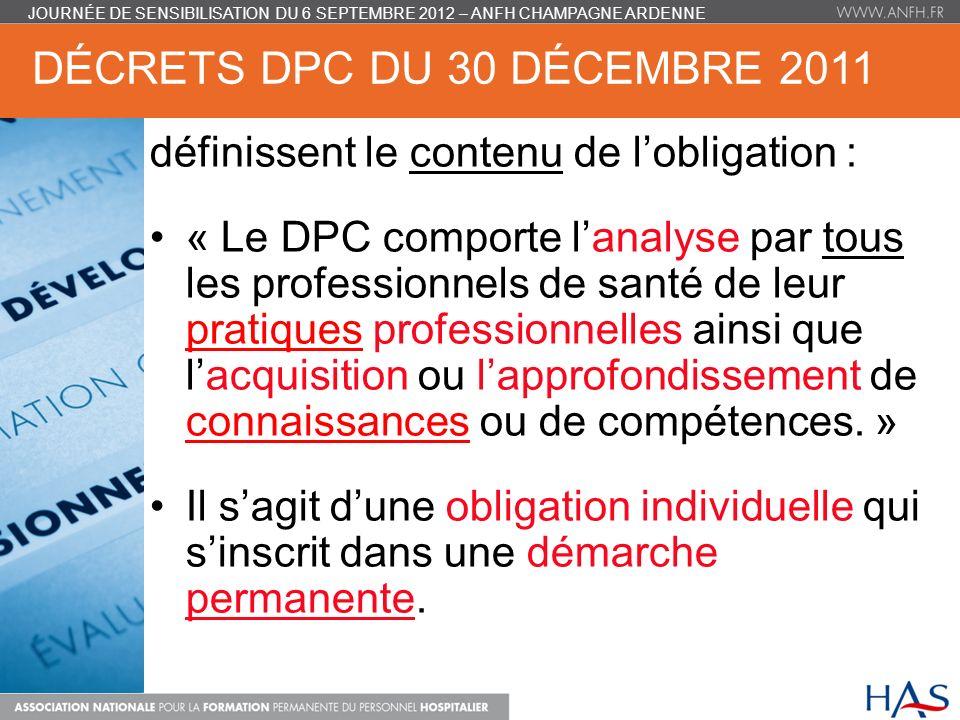 Décrets DPC du 30 décembre 2011