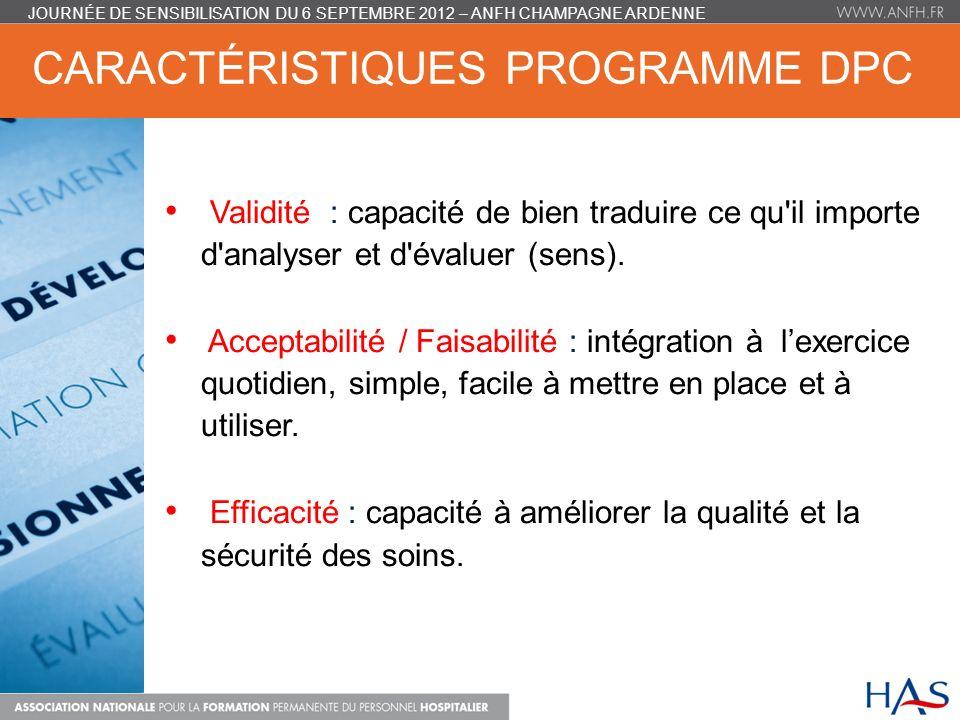 caractéristiques programme DPC