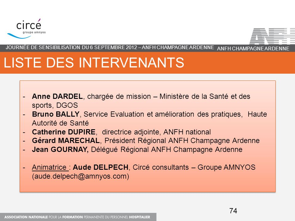 Liste des intervenants