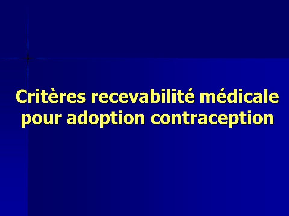 Critères recevabilité médicale pour adoption contraception