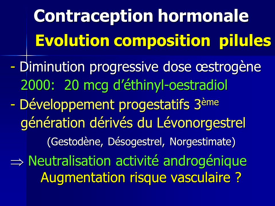 Contraception hormonale Evolution composition pilules