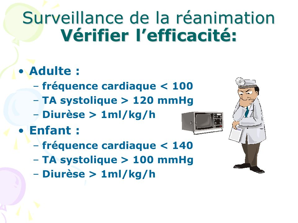 Surveillance de la réanimation Vérifier l'efficacité: