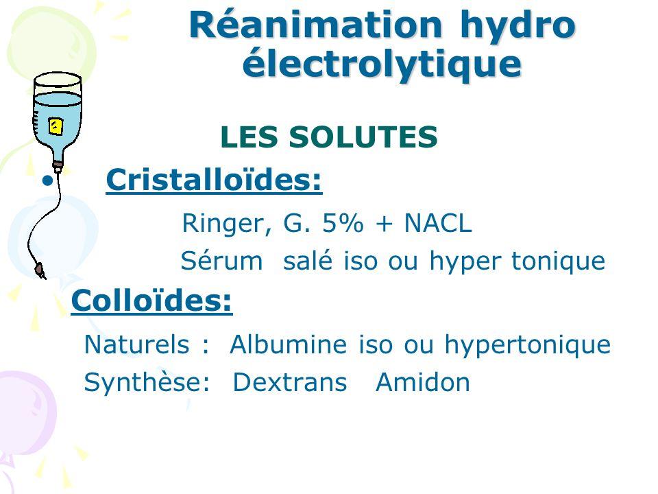 Réanimation hydro électrolytique