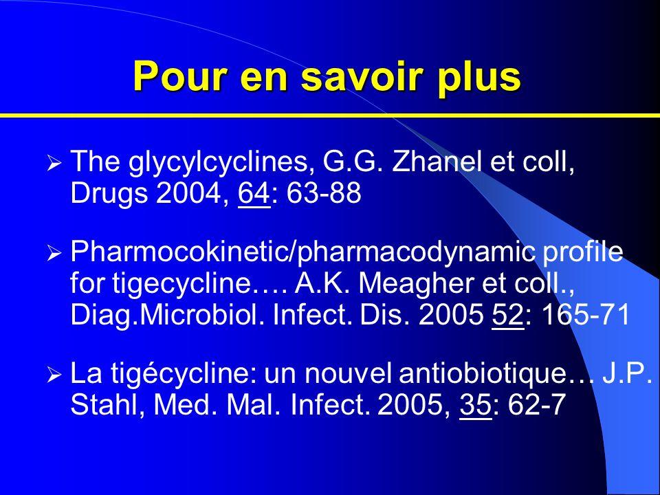 Pour en savoir plus The glycylcyclines, G.G. Zhanel et coll, Drugs 2004, 64: 63-88.