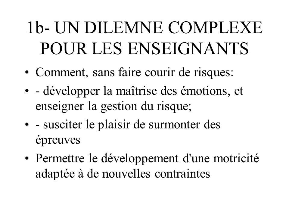 1b- UN DILEMNE COMPLEXE POUR LES ENSEIGNANTS