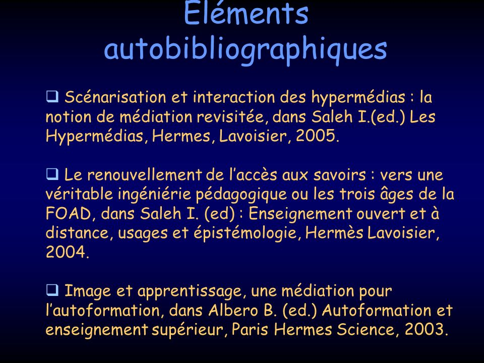 Eléments autobibliographiques